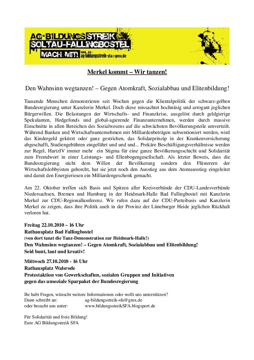 Aufruf der AG Bildungsstreik SFA zur Demo am 22.10.2010